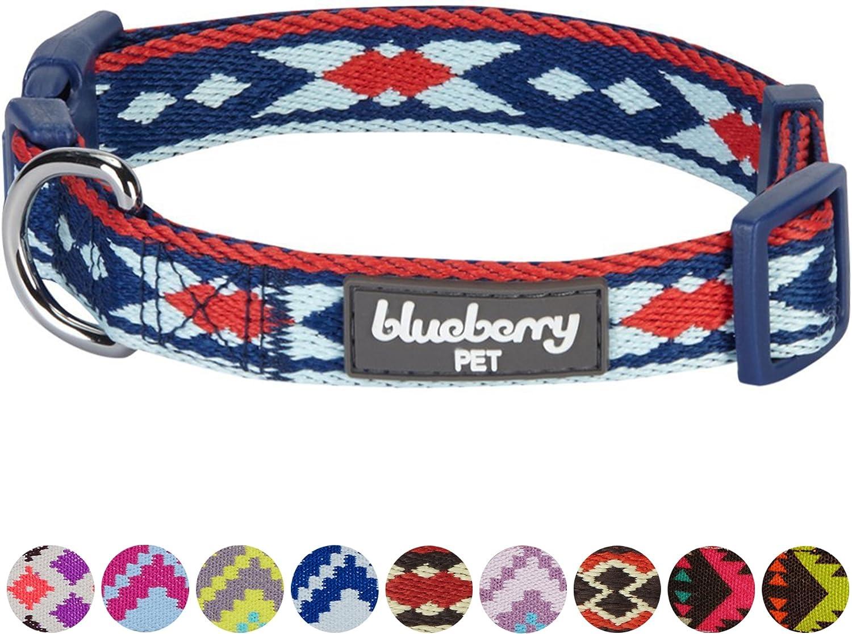 2 cm x 37-50cm Armada Blueberry Pet Collar ajustable para perros con forma de zig-zag inspirado en la tribu de ar/ándanos Medio