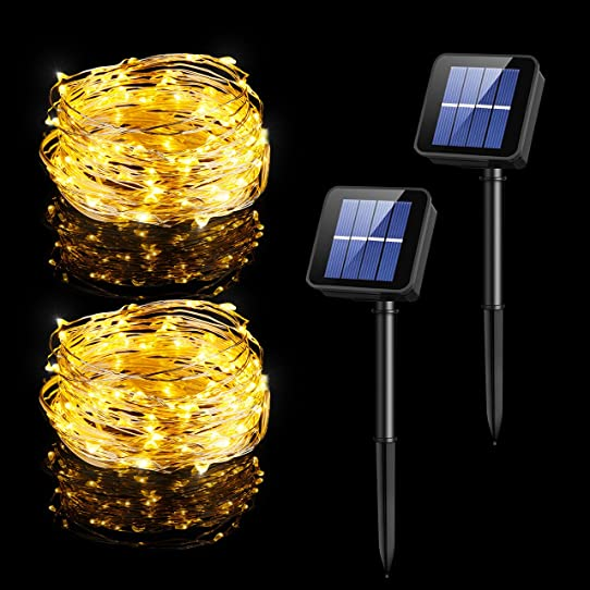 Habor Solar Powered Copper Wired Outdoor 100 LED String Lights, 33 Feet Each