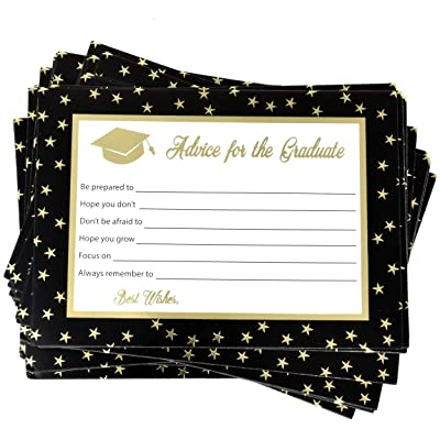 "48 Graduation Advice Cards 2020 5"" X 7"" Gold Foil for Best Wishes for Graduate School College University Nursing and Law for Ceremony Keepsake Class Grad Celebration Game Activities Party Supplies Decor: Toys & Games"