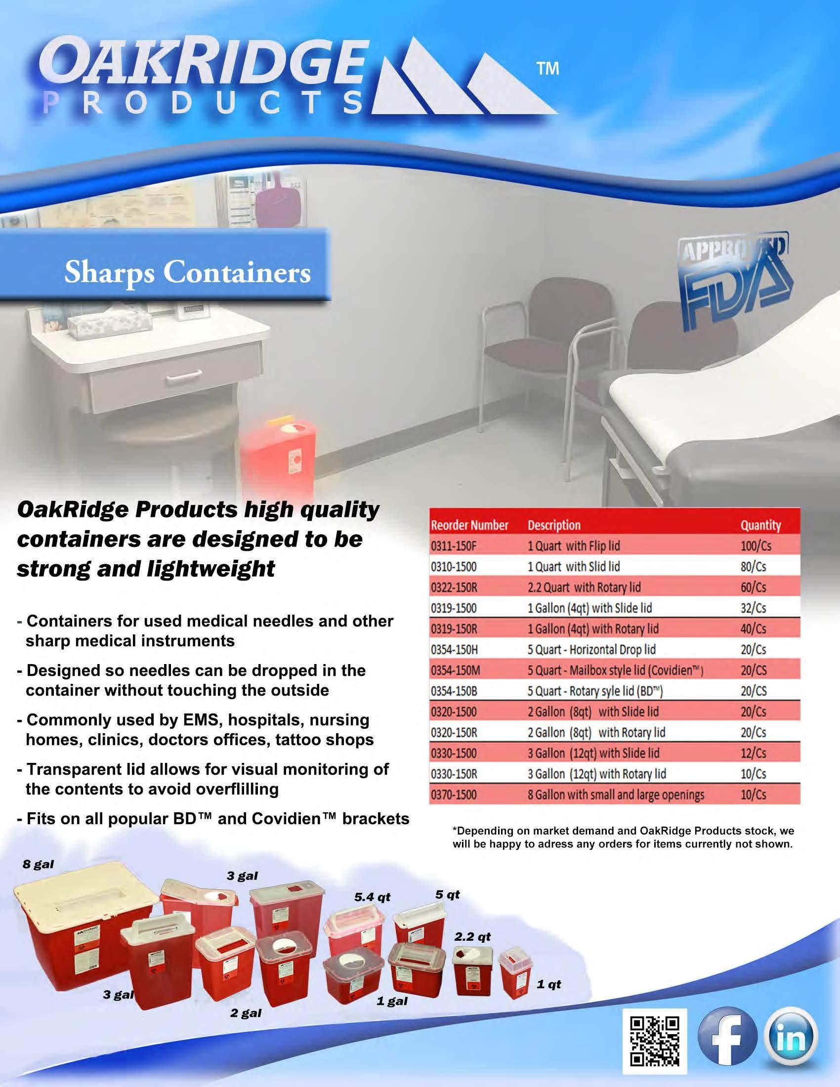 Oakridge Products 1 Quart Size Pack Of 3 Sharps Disposal