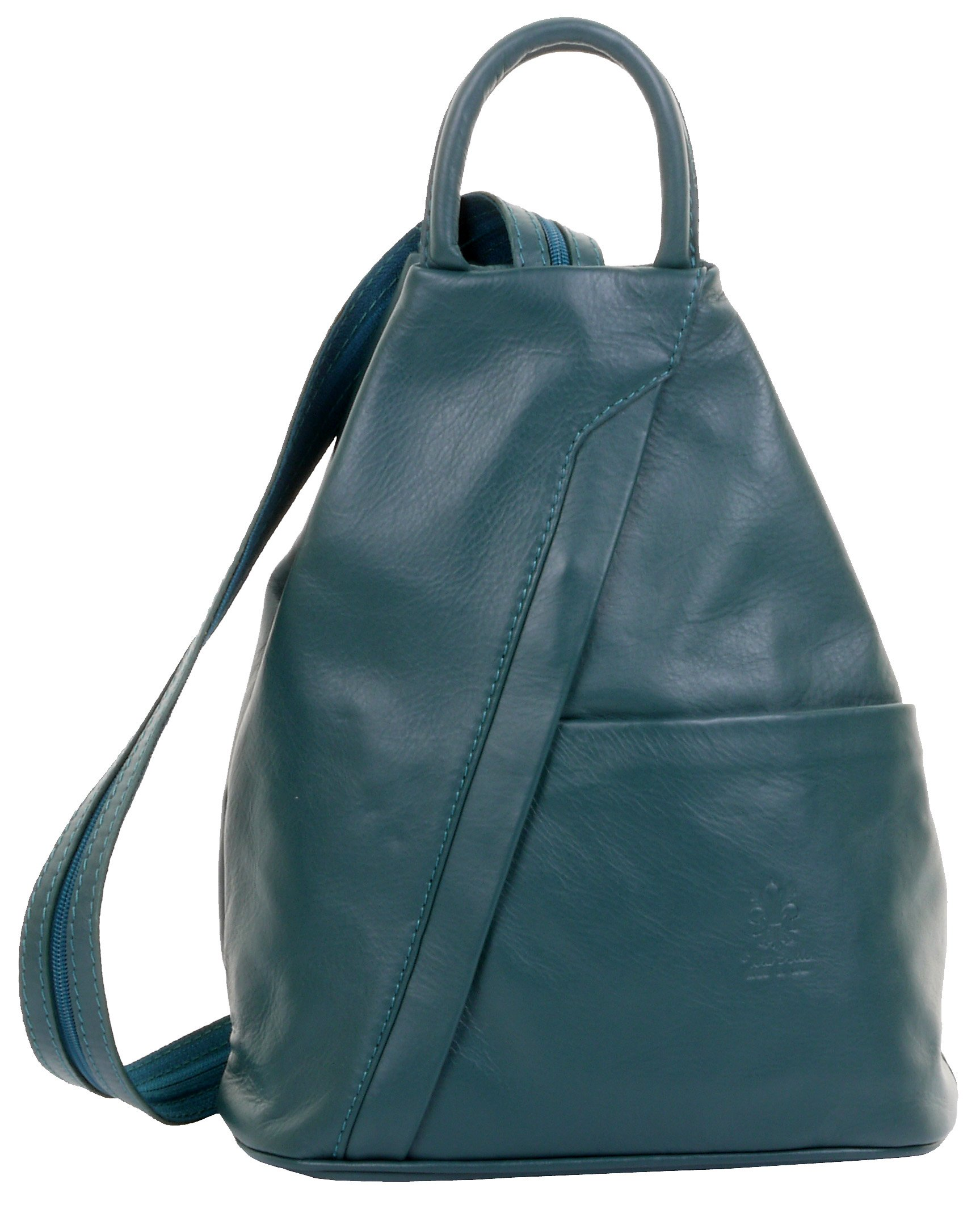 Primo Sacchi Italian Soft Napa Leather Dark Teal Top Handle Shoulder Bag Rucksack Backpack
