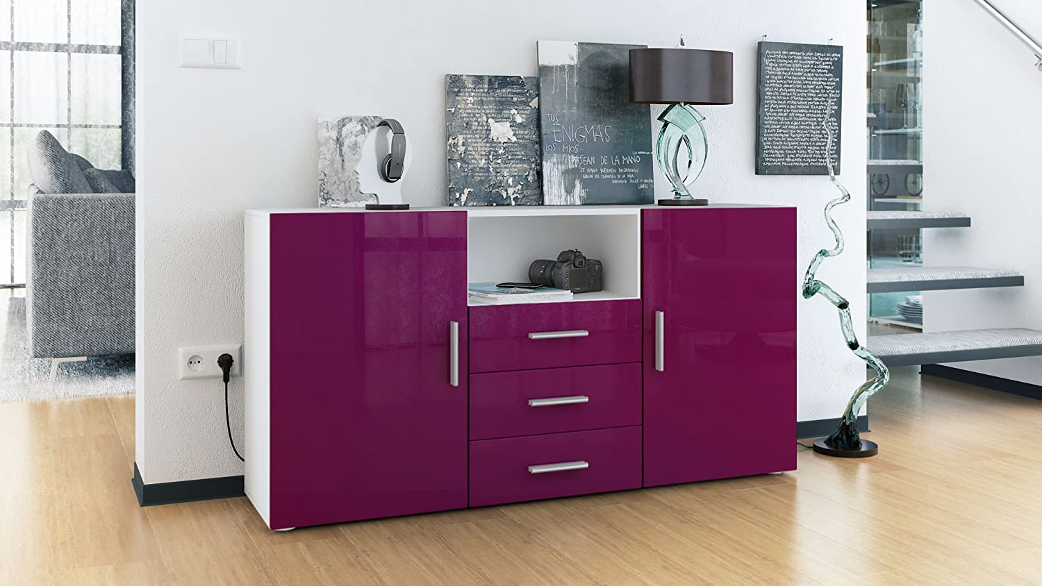 Vladon Sideboard Chest of Drawers Skadu, Carcass in White matt/Fronts in Sand grey High Gloss Fronts in Raspberry High Gloss