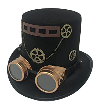 c57579021aebec Steampunk Costume Tall Black Top Hat Goggles Gears & Ribbon with Chain  Victorian Gothic Accessories