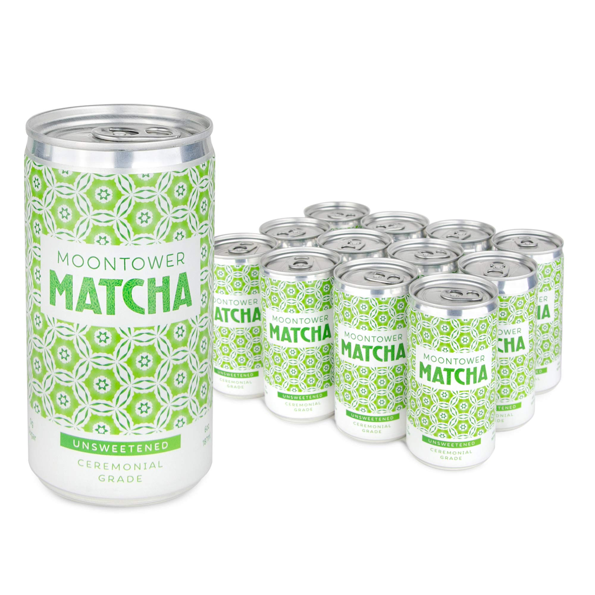 Moontower Matcha Green Tea, Unsweetened, Ceremonial Grade Japanese Matcha Tea, Canned & Ready to Drink, 12 Pack of 6 Ounce Matcha Cans, Gluten Free, Sugar Free and Non-GMO