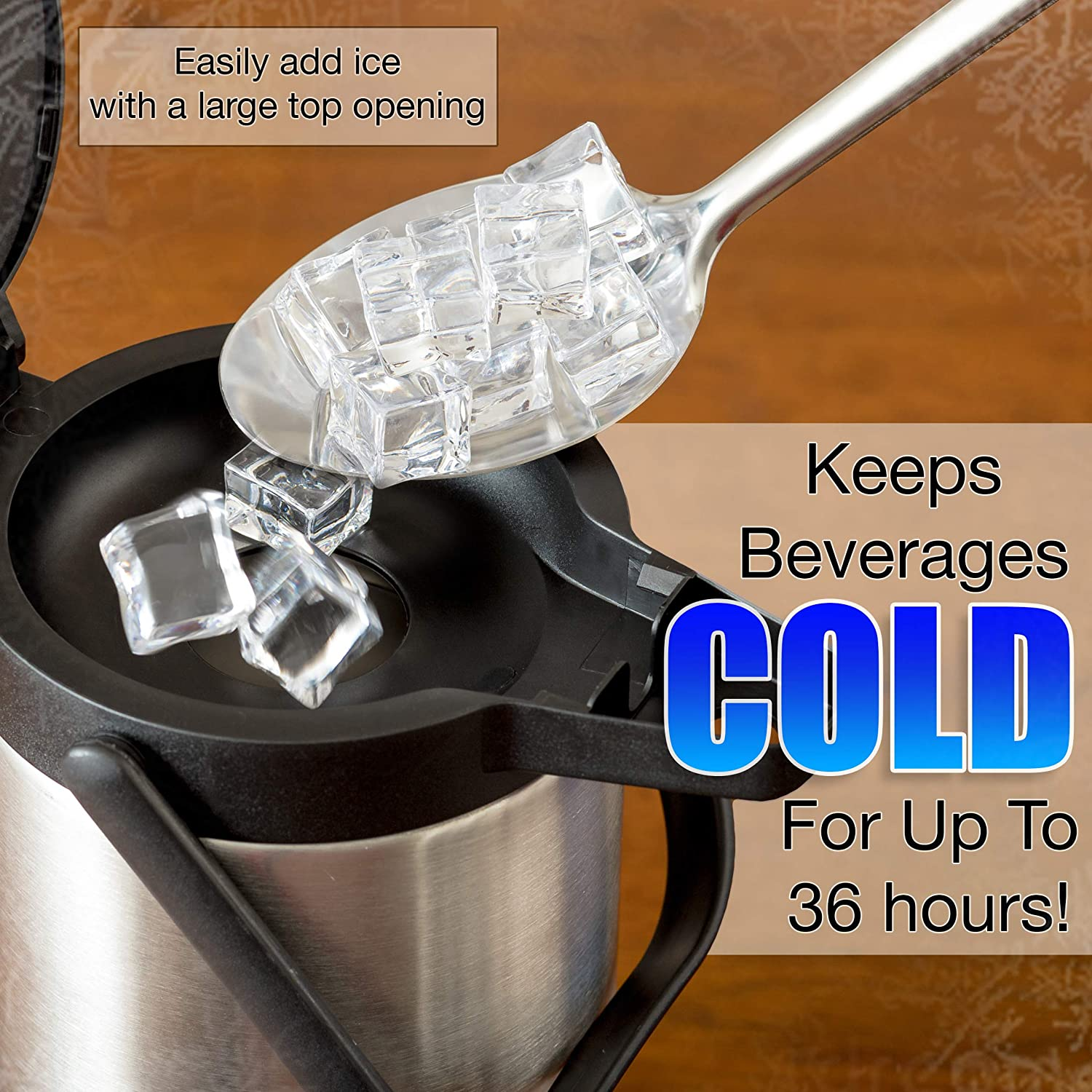 85oz 20-Hour Hot and 36-Hour Cold Insulation Coffee Water Iced Drinks | 15-Cup Insulated Thermos with Pump Beverage Dispenser Thermal Coffee Airpot Carafe Stainless Steel Urn for Tea