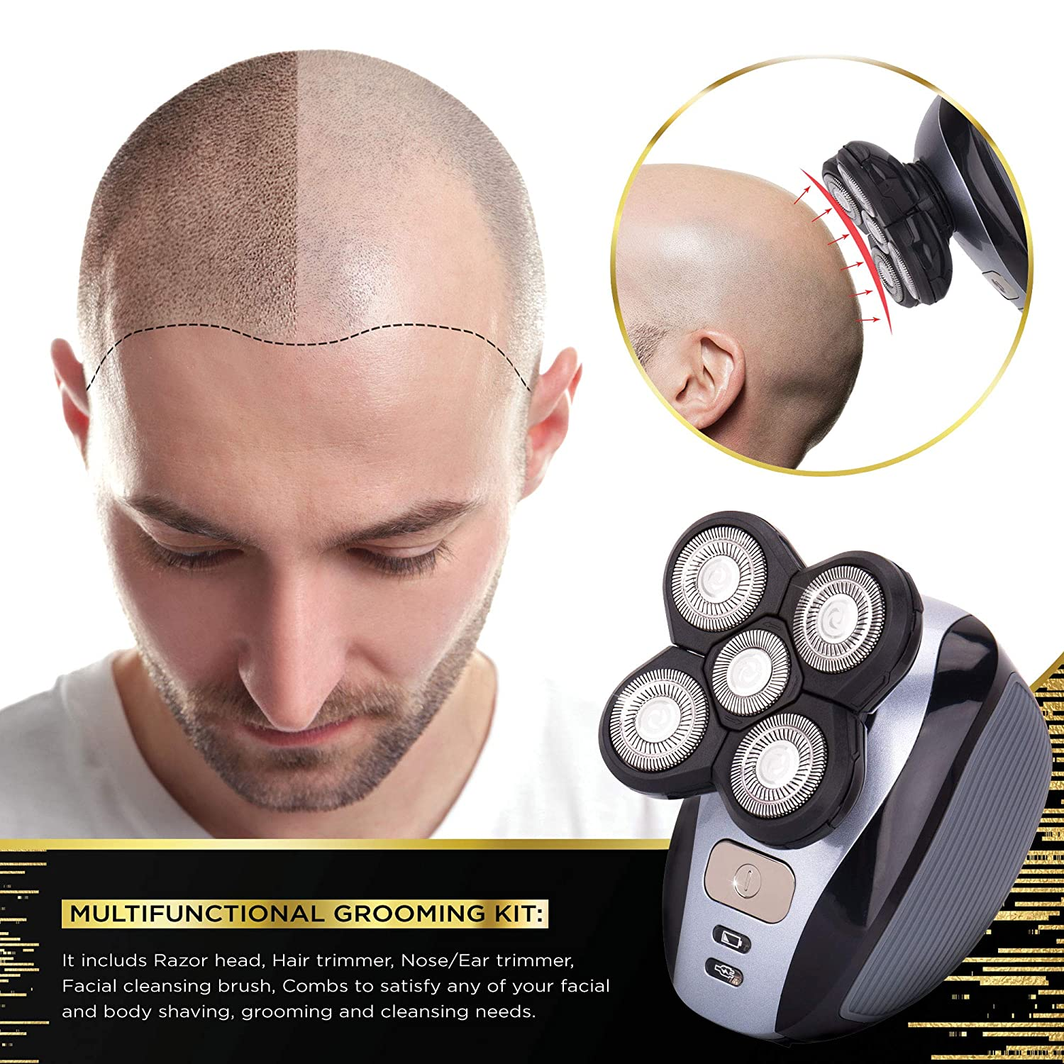 Men s 5-in-1 Electric Shaver Grooming Kit Five-Headed Beard, Hair Razor for a Perfect Bald Look, Cordless and Rechargeable
