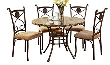 ACME 70555 Kleef 5 Piece Dining Set, Faux Marble Top