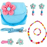 CMK Trendy Kids Toddler Flower Plush Purse Set for Girls with Accessories