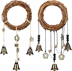 2 Pieces Witch Bells Protection for Door Knob Hanger Wiccan Wind Chimes Witchy Things Clear Negative Energy Attracts Positive Witchcraft Wicca Supplies for Boho Home Room Decor