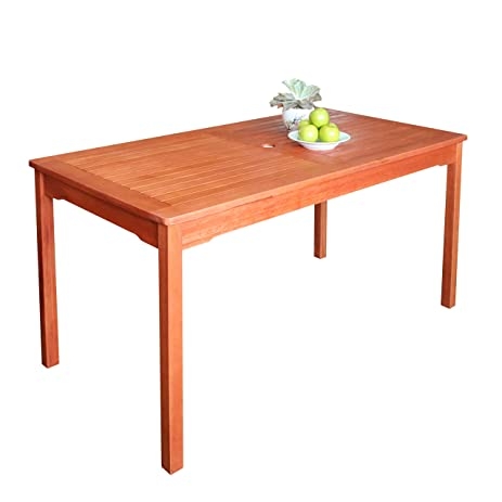VIFAH V98 Outdoor Wood Rectangular Table, Natural Wood Finish, 59 By 35 X30
