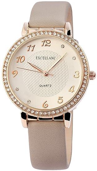 Reloj mujer piel Beige taupe Oro Strass analógico de cuarzo reloj de pulsera