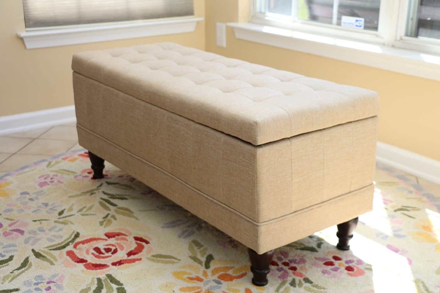 Genial Amazon.com: Home Life Lift Top Storage Bench With Tufted Accents Beige  Fabric: Kitchen U0026 Dining
