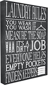Stupell Home Décor Laundry Rules Wear It Wash It Chalk Look Stretched Canvas Wall Art, 16 x 1.5 x 20, Proudly Made in USA