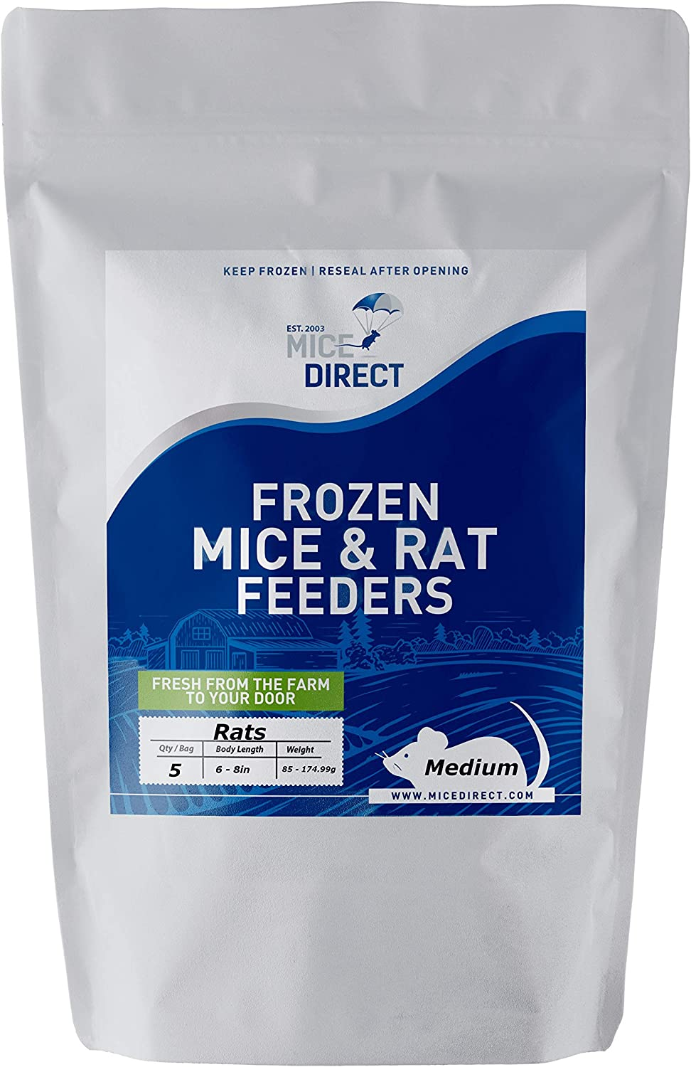 MiceDirect 5 Medium Rats: Pack of Frozen Medium Feeder Rats - Food for Corn Snakes, Ball Pythons, Lizards and Other Pet Reptiles - Freshest Snake Feed Supplies