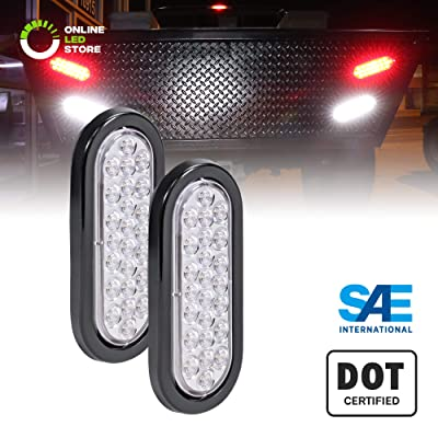"2pc 6"" White Oval LED Reverse Trailer Tail Light Kit [DOT FMVSS 108] [SAE (2) R] [24 LED] [Grommet & Plug Included] [IP67 Waterproof] [Back Up Signal] Trailer Lights for Boat Trailer RV Trucks: Automotive"