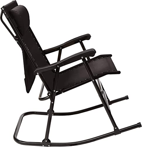 AmazonBasics Foldable Rocking Chair with Canopy, Black