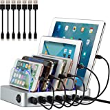 Simicore Charging Station for Multiple Devices, Simicore 6-Port USB Charger Station with 7 Short Mixed Cables for Cell…