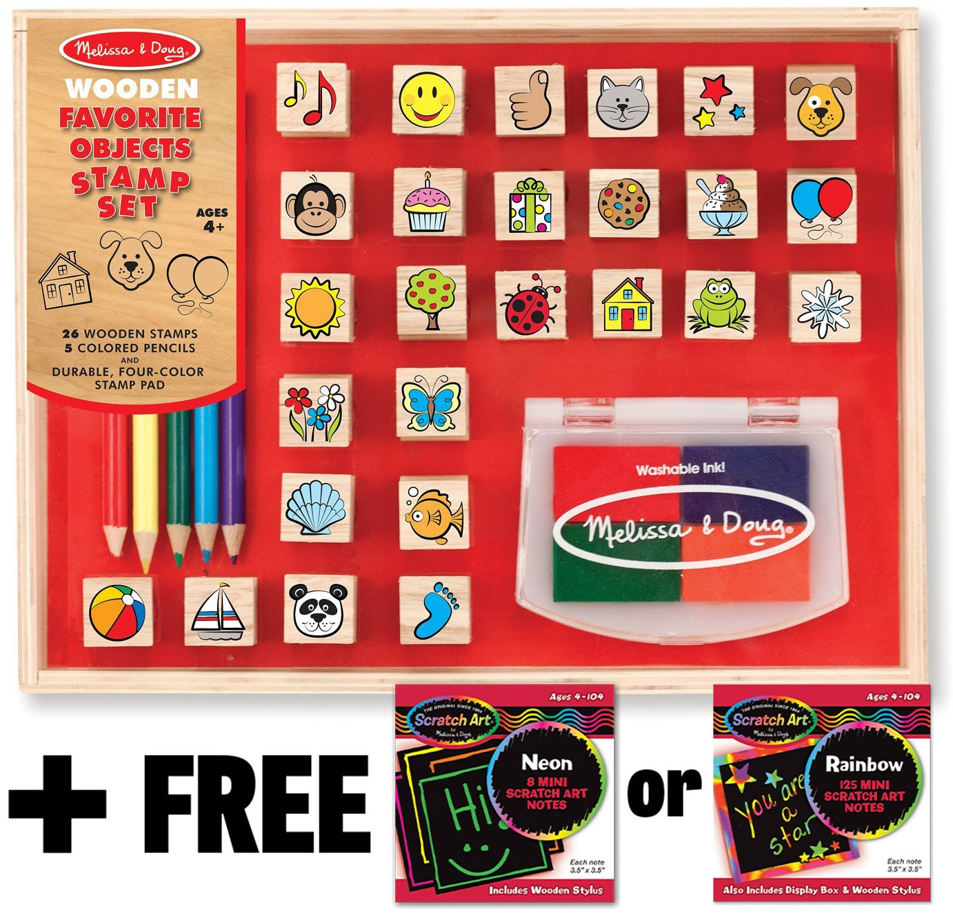 Favorite Things: Wooden Stamp Set and FREE Melissa Doug Scratch Art Mini-Pad Bundle