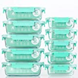 [10-Pack] Glass Food Storage Containers with Lids, Airtight, BPA Free, Meal Prep Containers for Kitchen, Home Use (Color: Light Green)