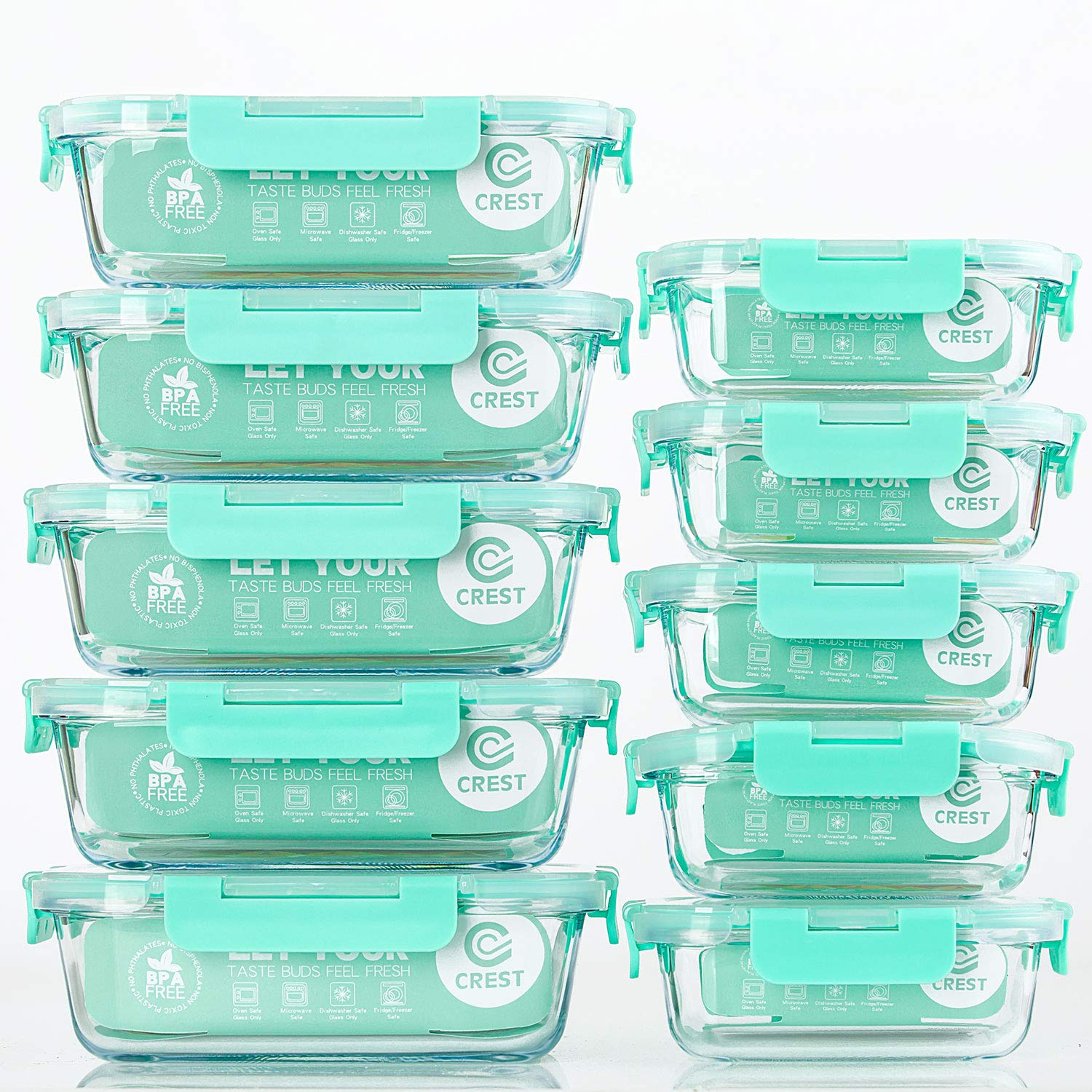 [10-Pack] Glass Food Storage Containers with Lids, Airtight, BPA Free, Meal Prep Containers for Kitchen, Home Use by C CREST