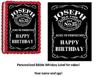 edible personalized whiskey label cake quarter sheet cake topper