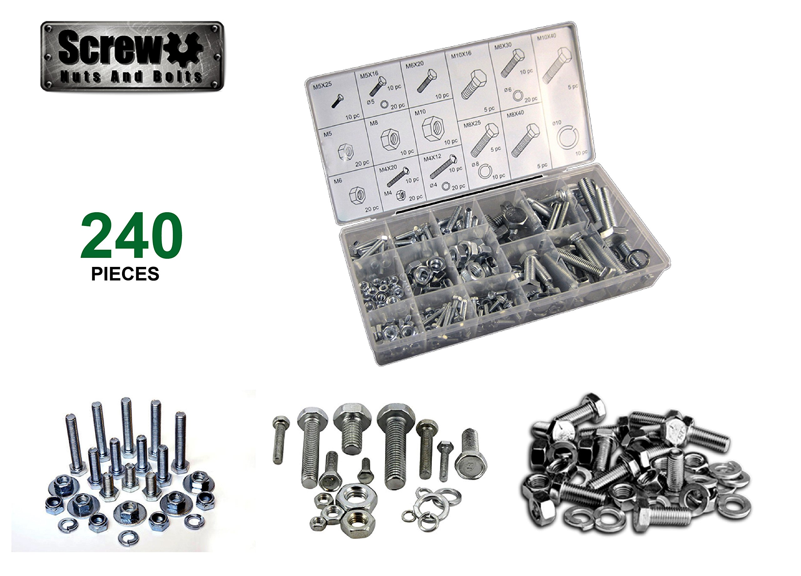 Screw U- Nut and Bolt Set 240pc: Heavy Duty Hardware Assortment, Metric Nuts and Bolts Set, Hex Nuts, Washers and Bolts- Great for Home Improvement, Automotive, Electrical, and Binding Metals.
