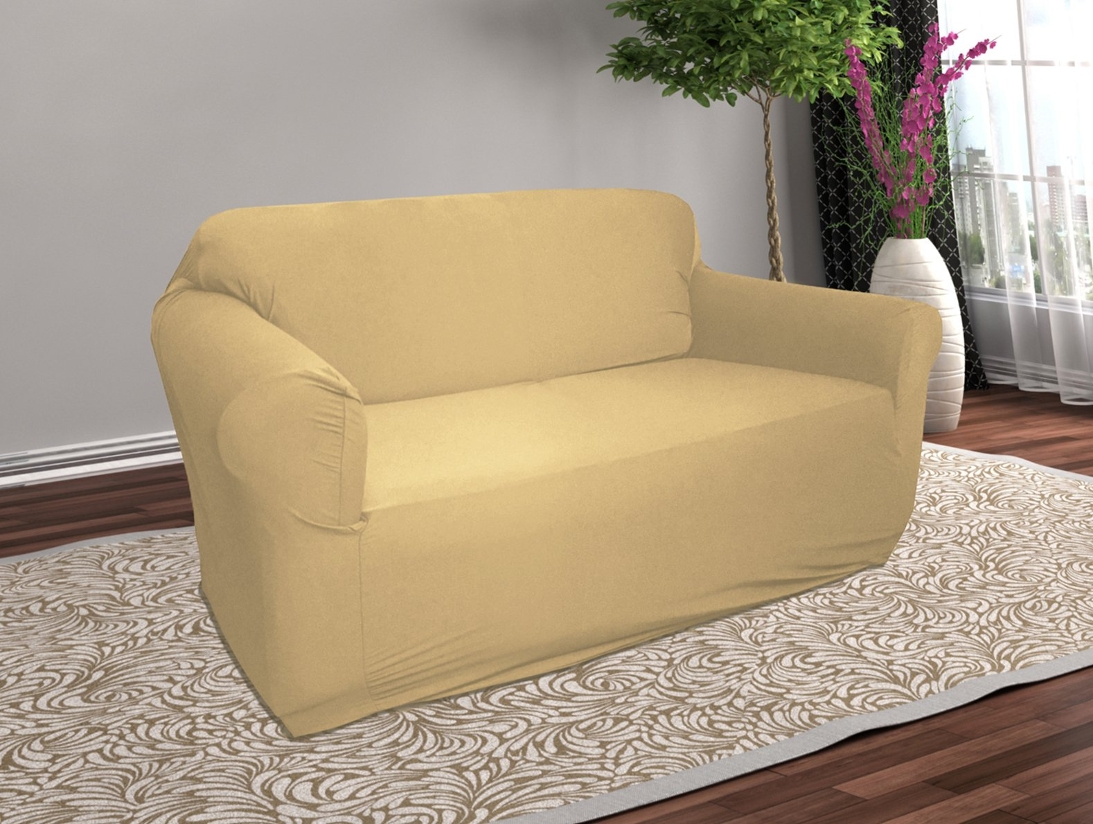 Linen Store Stretch Jersey Slipcover, Soft Form Fitting, Solid Color (LOVESEAT, TAN)