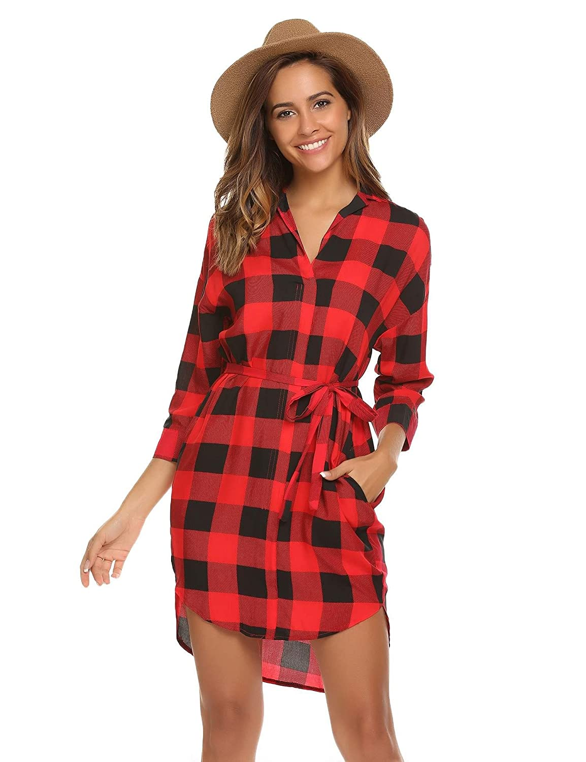 Meaneor Women's Casual 3/4 Sleeve Belted Plaid Loose T Shirt Mini Dress ##MAH013531