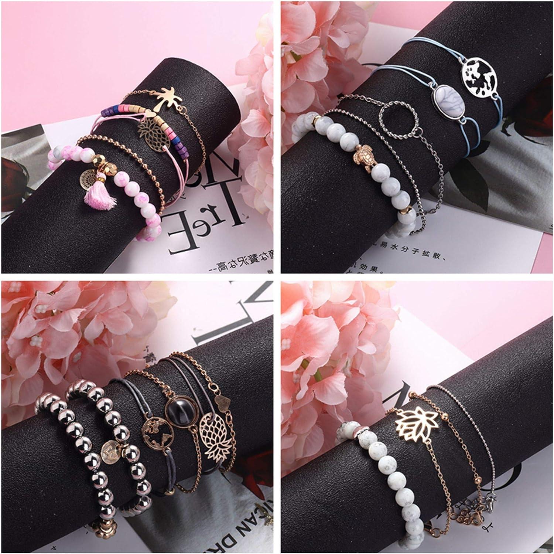 YADOCA 20 Piezas Boho Pulseras para Mujer Ni/ña M/últiple Ajustable Pulseras Apilables Enlaces Wrap Bangle Bracelets Set Jewelry