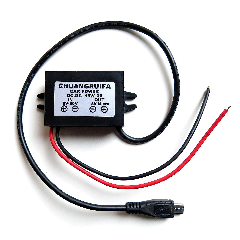 DC Step Down Buck Converter 12V 24V 36V to 5V 3A Micro USB Power Adapter 8-50V