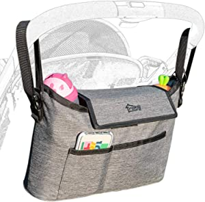 Universal Stroller Organizer Bag with Cup Holder and Detachable Shoulder Strap, Extra-Large Storage Space forDiapers Phones, Wallets, Toys, Baby Accessories-Fit All Stroller Models and pet Strollers