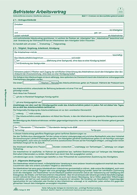 Rnk Befristeter Arbeitsvertrag Für Kaufmännische Gewerbliche Arb