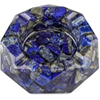 Yoption Lapis Lazuli Ashtray, Resin with Tumbled Chip Stones Ashtray, Crystal Ashtray for Living Room Ashtray Holder…