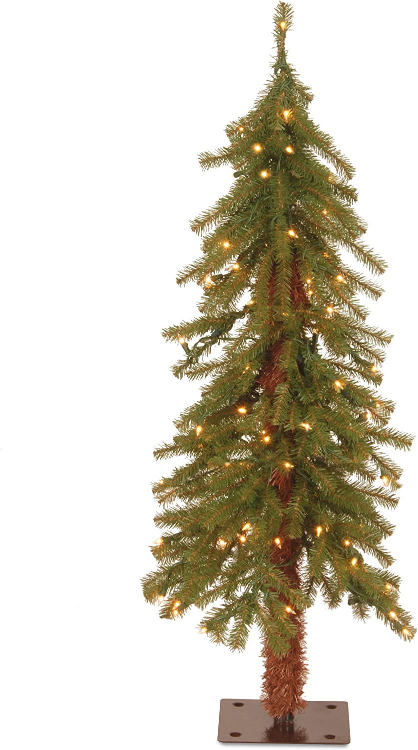 National Tree Company Pre-lit Artificial Christmas Tree | Includes Pre-strung White Lights and Stand | Hickory Cedar - 3 ft