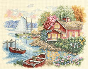 """DIMENSIONS 'Peaceful Lake House' Counted Cross Stitch Kit, 14 Count Ivory Aida, 14"""" x 11"""""""