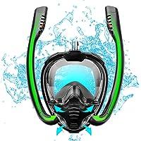shuangjishan Full Face Snorkel Mask,Double-Tube Dry Top Diving Mask 180°Panoramic Anti-Fog & Anti-Leak with Detachable…