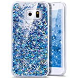 Galaxy S6 Edge Case,Bling Glitter Case, Ukayfe Creative Design Glitter Shiny Quicksand Sparkle Stars and Flowing Liquid Transparent Clear Hard Case Cover for Samsung Galaxy S6 Edge - Blue
