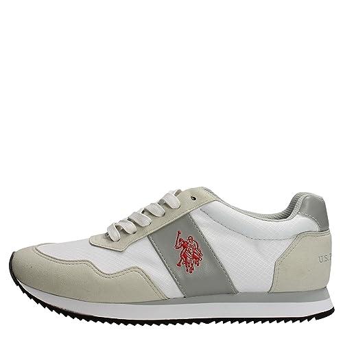a5e89010ad3690 U.s. Polo Assn NOBIL4044S6 NH1 Sneakers Uomo Camoscio nylon BIANCO BIANCO 43