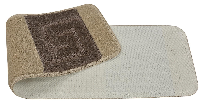 Set of 13, Meander Cappuccino Brown Millenium Stair Tread Treads Meander Greek Key Design Indoor Skid Slip Resistant Carpet Stair Tread Treads Machine Washable 8 /½ inch x 30 inch