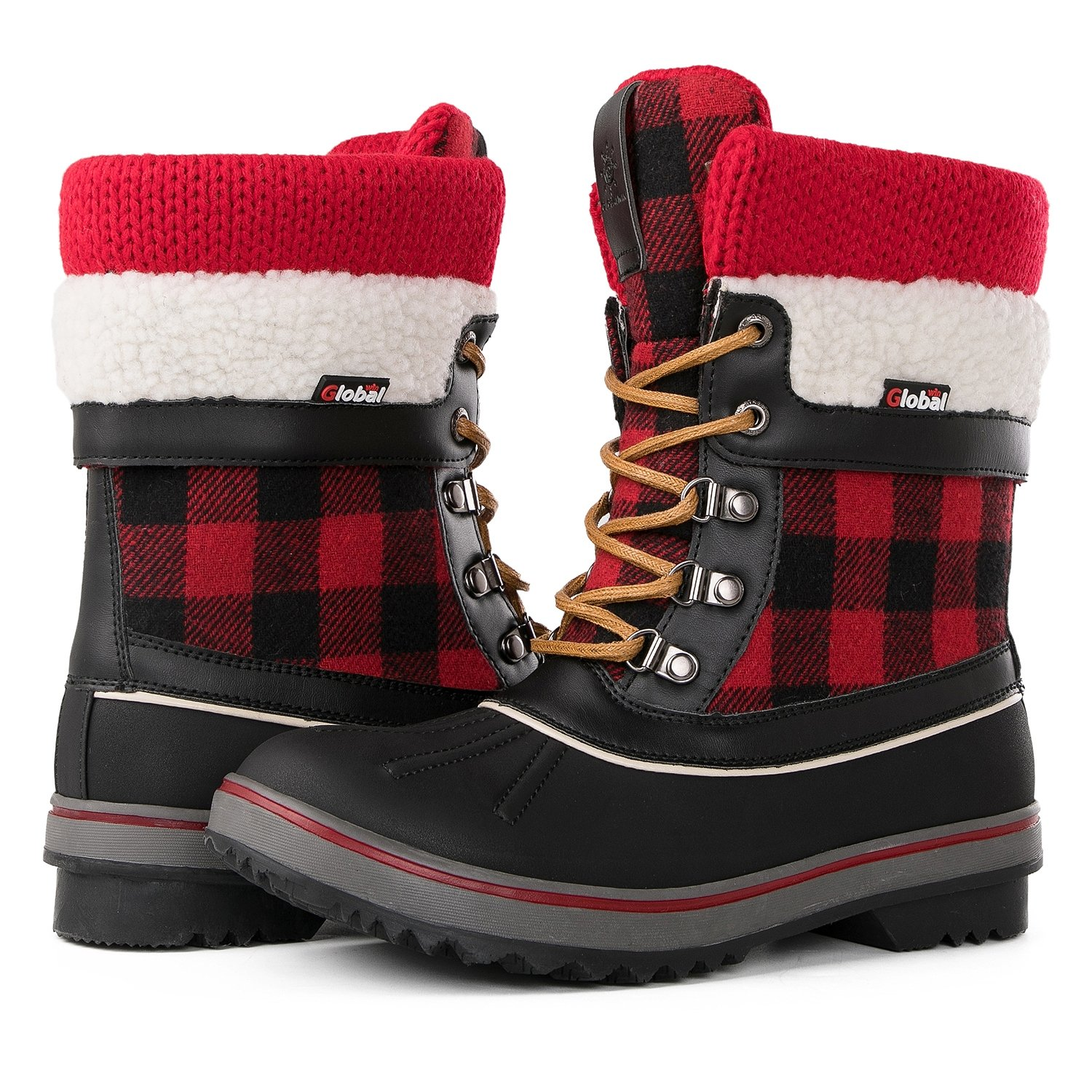Global Win GLOBALWIN Women's Waterproof Winter Snow Boots B076219VYL 5.5 M US|Black/Red1738