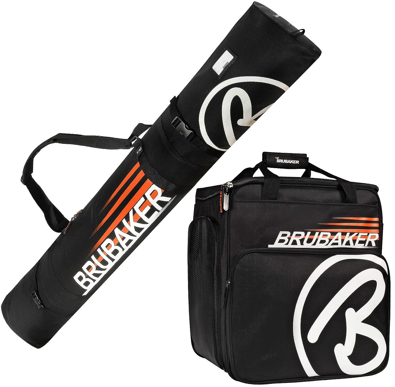 Brubaker Kombi Set Champion Skisack und Skischuhtasche für 1 Paar Ski 170 cm oder 190 cm + Stöcke + Schuhe + Helm Schwarz Orange