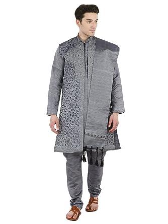 Amazoncom Kurta Pajama For Men 4 Piece Set Sherwani Long Sleeve