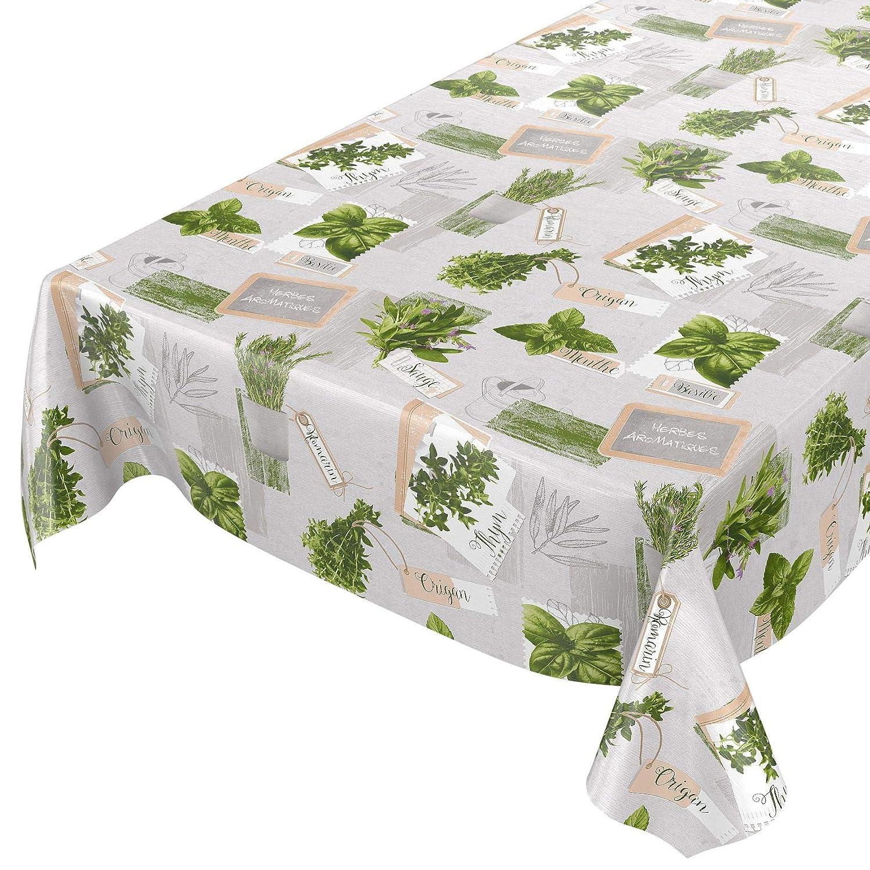 Tovaglia cerata, lavabile, di colore verde e beige, motivo  piante, taglia selezionabile, asciugamani, Kräuter verde Beige Bio Basilikum, 1000 x 140cm