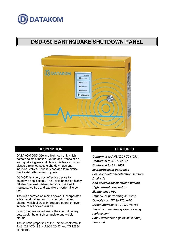 DATAKOM dsd-050 terremoto Gas Sensor de Detector de cierre ...