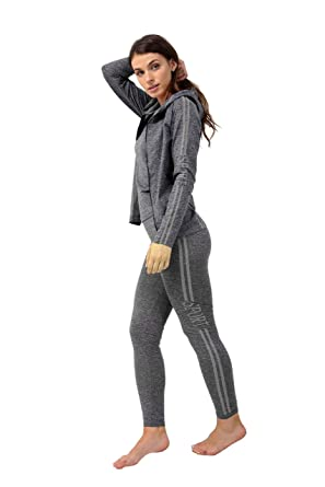 f319a8dbf1 3PC Ladies Gym Suit Hooded TOP
