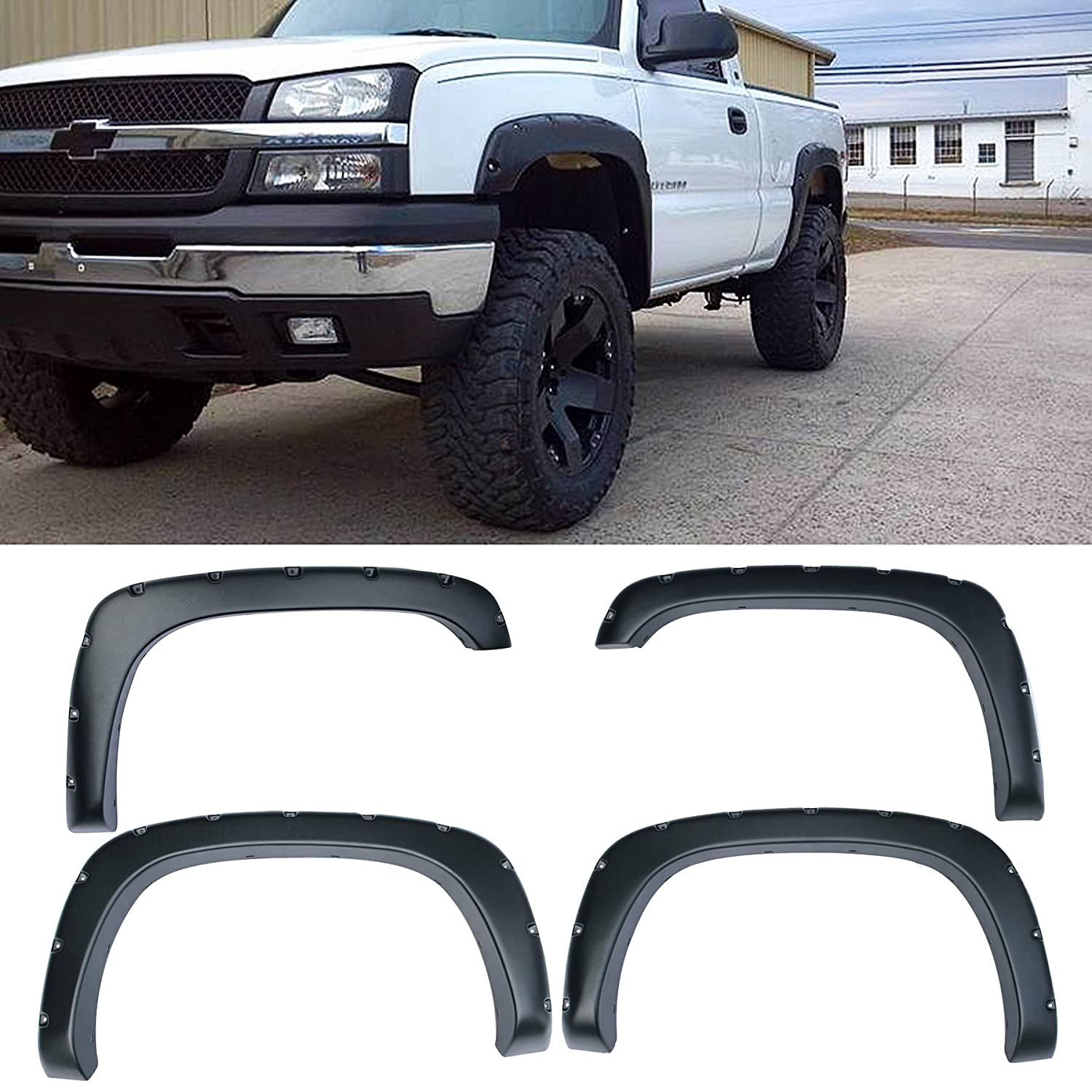 4pcs Front and Rear Textured Black Aftermarket Pocket Riveted Style ABS Plastic Fender Flares for 1999-2006 Chevy Silverado GMC Sierra 1500//1500 HD//2500//2500 HD//3500 2007 Classic Body Fleetside Bed