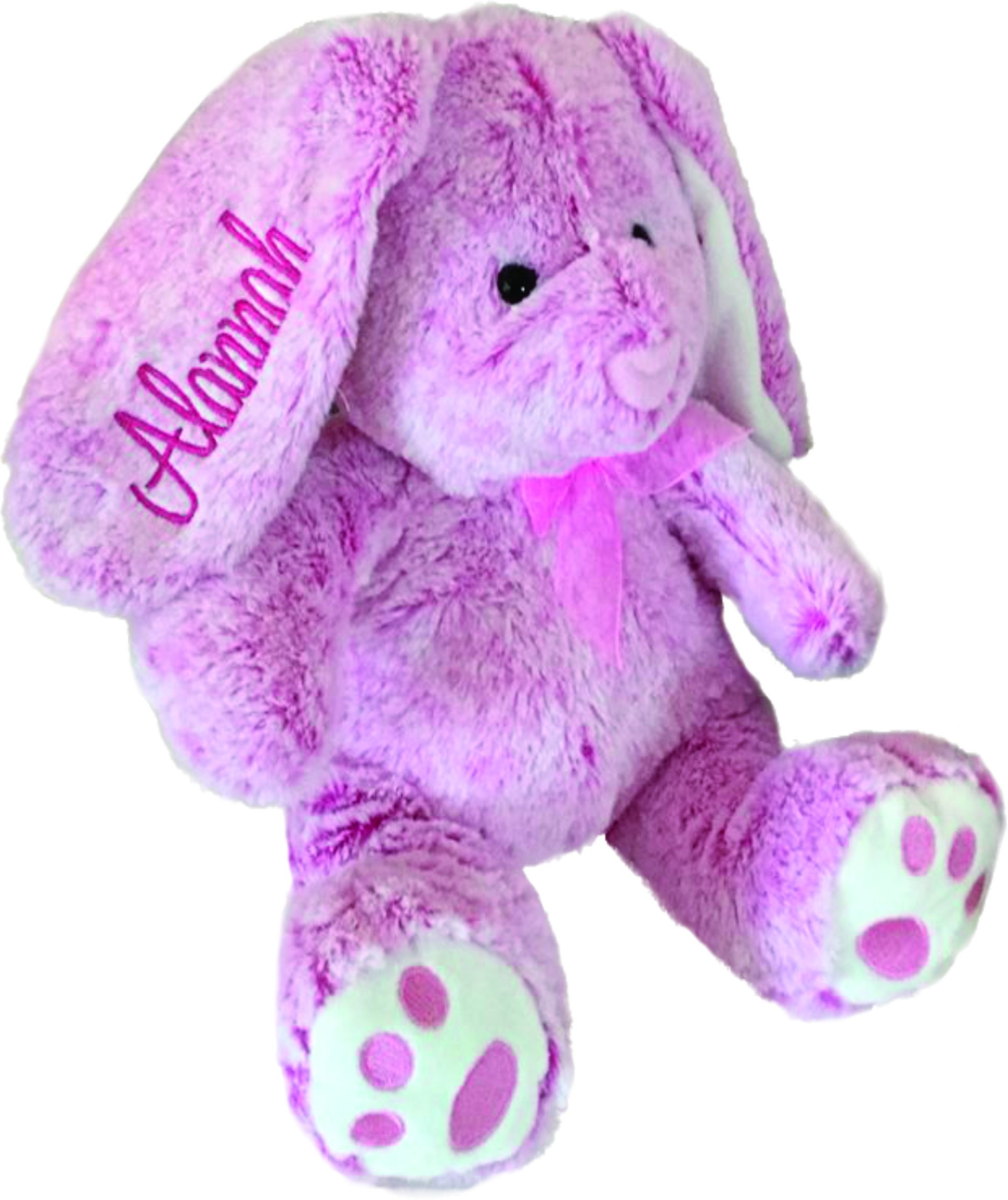 Personalized Plush Bunny-14 inches Tall- Stuffed Animal-Easter or Gift (Pink) by Hug Fun