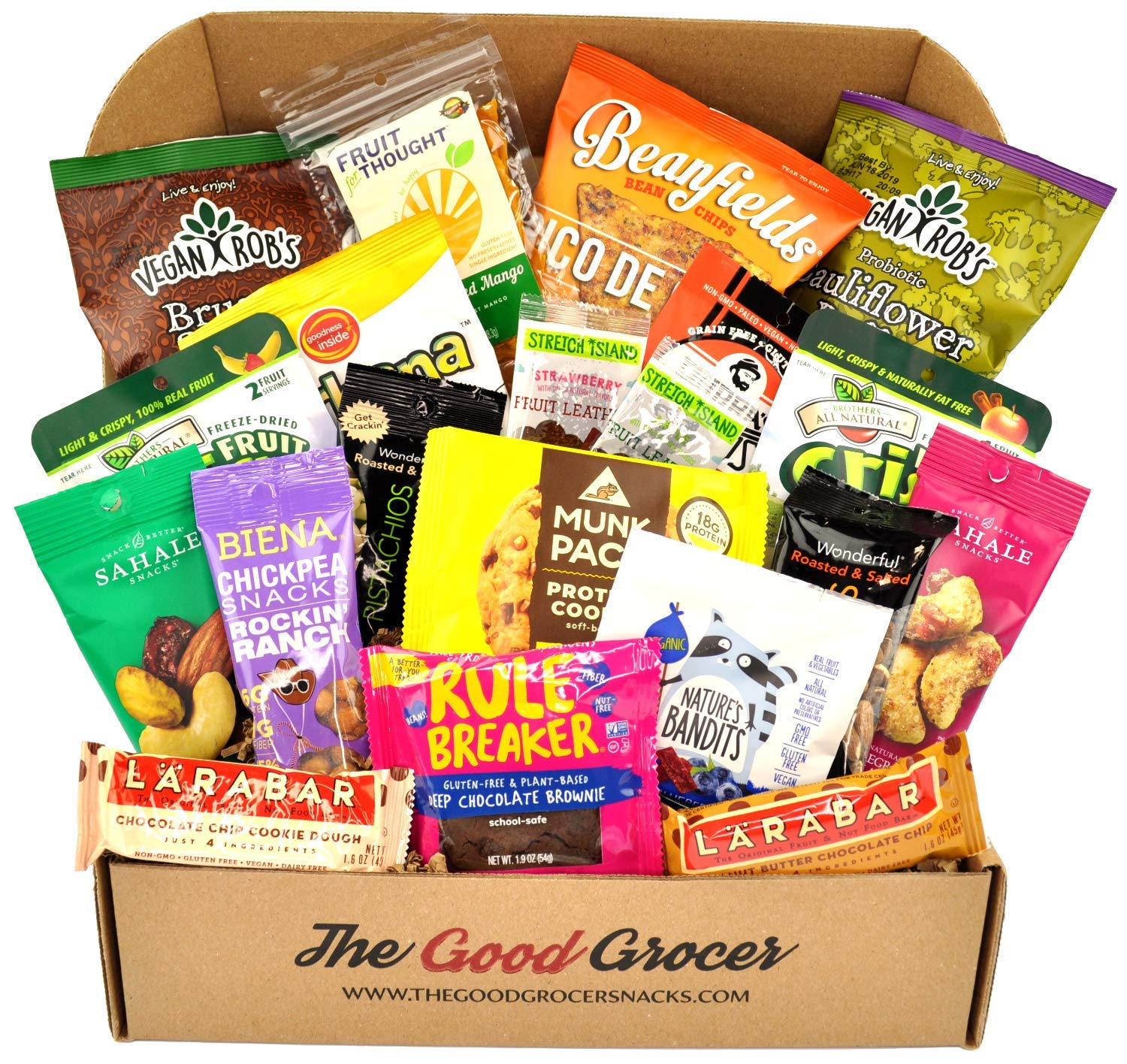 Premium GLUTEN FREE and VEGAN (DAIRY FREE) Healthy Snacks Care Package (20Ct): Featuring Delicious, Wholesome, Nutrient Dense Gluten Free and Vegan snacks. Office College Client Gift Box Basket by The Good Grocer