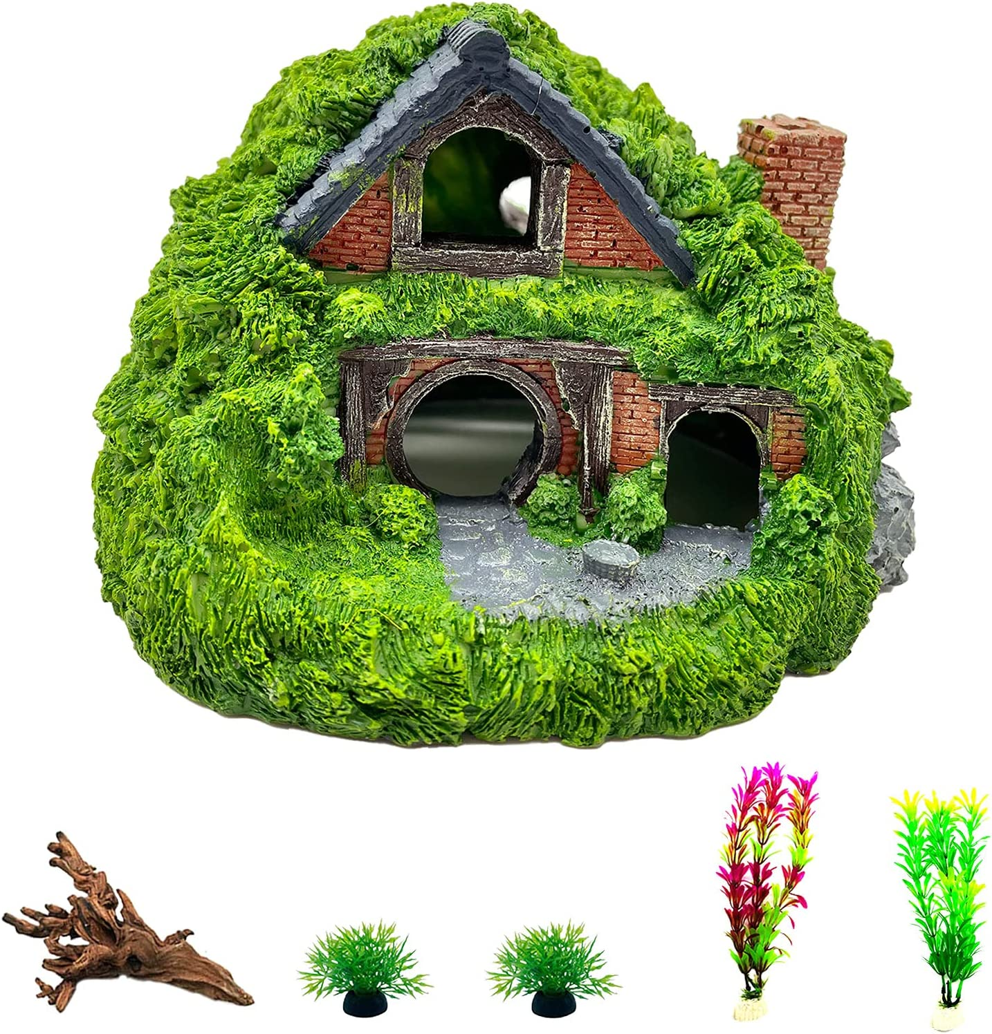 Tfwadmx Aquarium Decoration Hobbit House Resin Betta Hideout Cave Reptile Hiding Hollow Hole Shelter Fish Tank Hut Ornaments Driftwood Rockery Landscaping Plants Supplies Accessories(6 Pcs)
