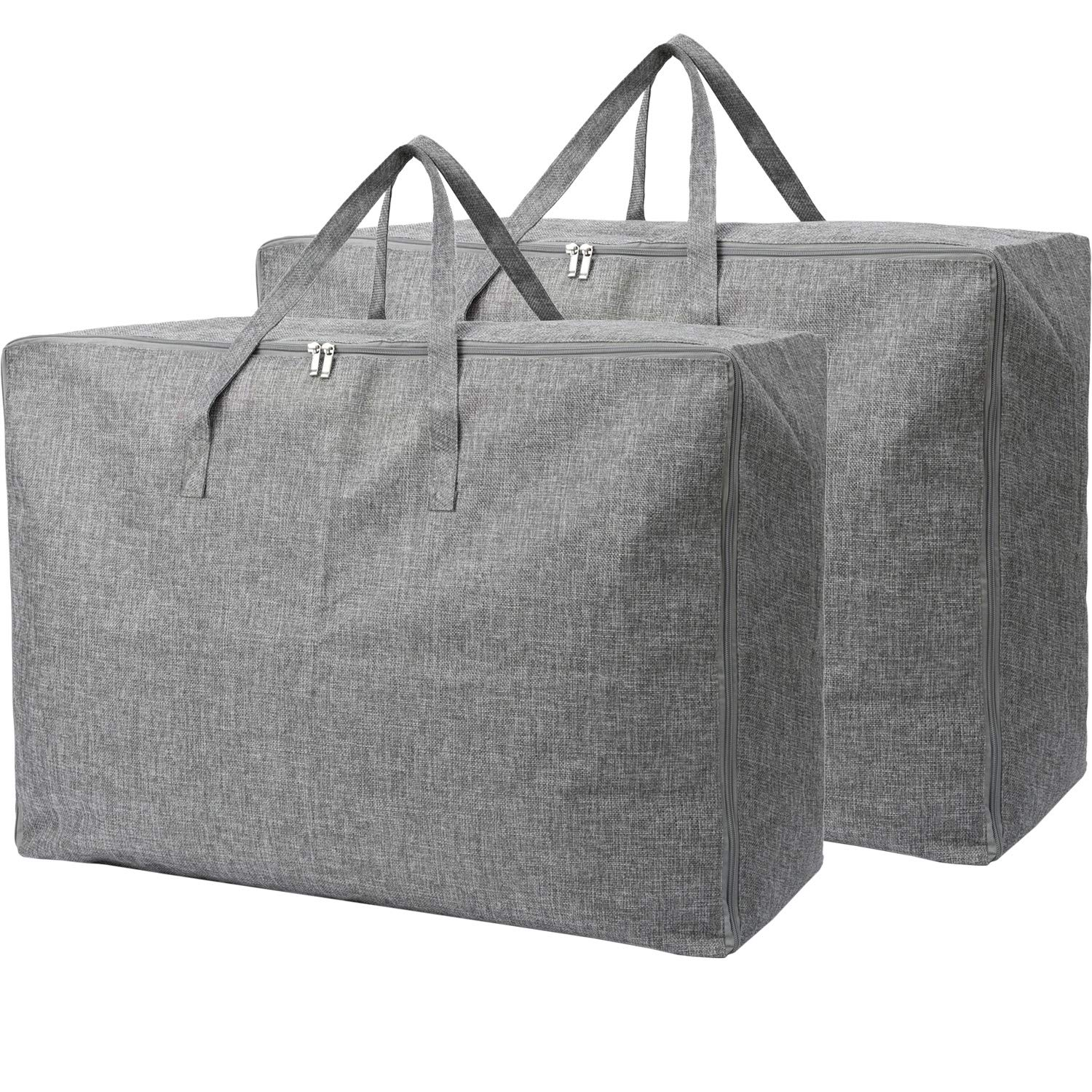 105L Extra Large Lead Free Storage Bags Organizer Bag-2 Pack-Sturdy, No Smell, Moisture Proof Linen Fabric, Carrying Bag, Camping Bag, Clothes Bag for Bedding, Comforters, Pillows, House Moving.(Grey)